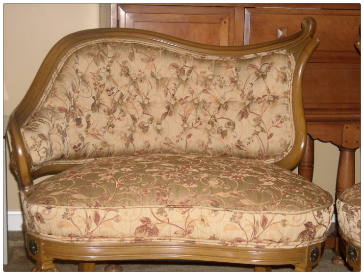 Reupholstered French Provincial Tufted Back Chairs