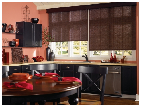 Graber Roller Shades Kitchen Room Scene