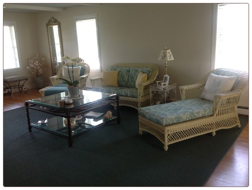 Rattan Furniture Room Scene with Reupholstered Cushions by Donna's Decor