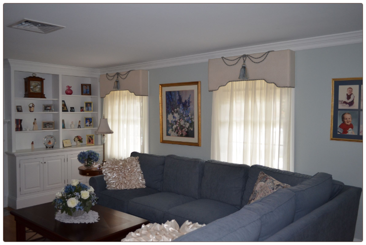 Upholstered Cornices Over Sheers Window Treatment Room Scene